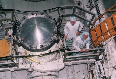STS-74 Mission Specialists McArther and Ross in OPF