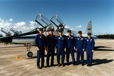 STS-81 Crew Members arrival at SLF for TCDT