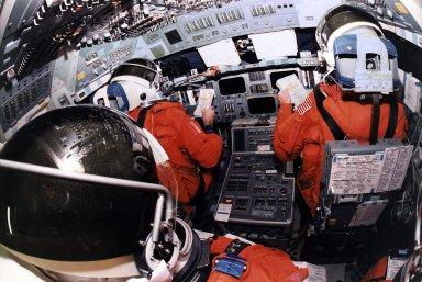STS-81 Flight-Deck view of crew during TCDT (back)