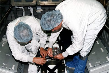 STS-84 oxygen generator for Mir installation