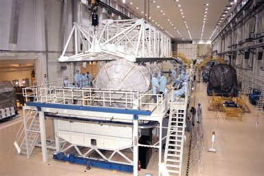STS-90 Neurolab payload is moved into its payload canister
