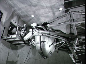 Astronaut Walter Schirra to enter centrifuge during training for space flight