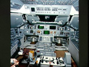 Endeavour, OV-105, forward flight deck controls during Rockwell manufacture