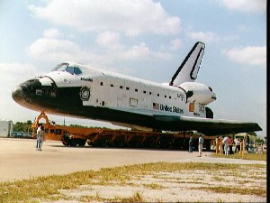 STS-44 Atlantis, Orbiter Vehicle (OV) 104, is moved from KSC's OPF