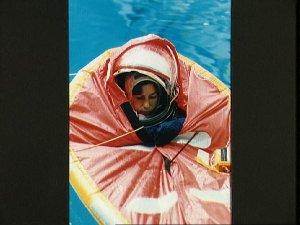 Astronaut Ellen Ochoa in small life raft during training