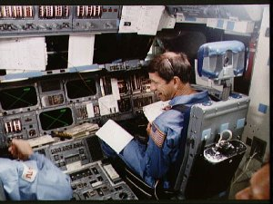 Astronaut Richard Covey in the Crew Compartment trainer