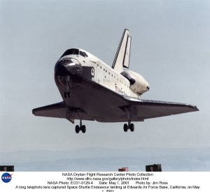 A long telephoto lens captured Space Shuttle Endeavour landing at Edwards Air Force Base, California