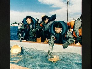 STS-47 Japanese Payload Specialist Mohri and backups during Homestead training