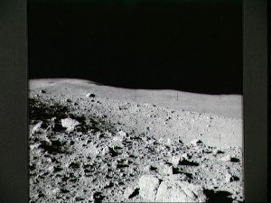 View of field of boulders on flank of Cone Crater