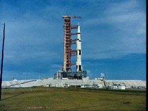 Apollo 4 stack and mobile launch tower atop Pad A at Launch Complex 39