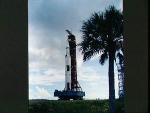 Apollo 4 stack and mobile launch tower moving from VAB toward launch pad