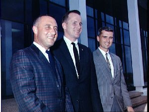 Prime crew for the first manned Apollo space flight at press conference
