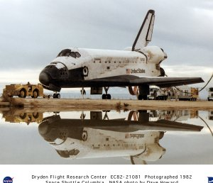 Shuttle Columbia Post-landing Tow - with Reflection in Water