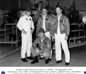 Lifting body pilots - Jerry Gentry, John Manke, Bill Dana, Cecil Powell with M2-F3 in background