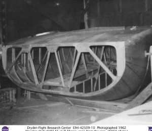 Wooden shell of M2-F1 being assembled at El Mirage