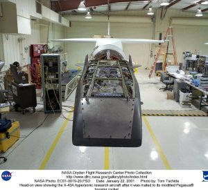 Head-on view showing the X-43A hypersonic research aircraft after it was mated to its modified Pegas