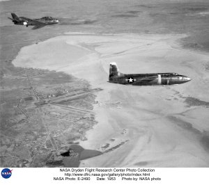 X-1A in flight over lakebed