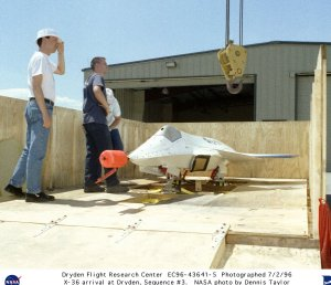 X-36 Tailless Fighter Agility Research Aircraft arrival at Dryden