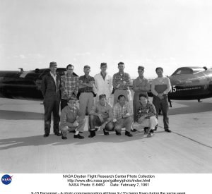 X-15 Personnel - A photo commemorating all three X-15's being flown during the same week.