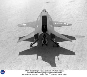 X-15 ship #1 on lakebed from back