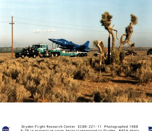 X-29 in Protective Cover Being Transported by Truck to Dryden