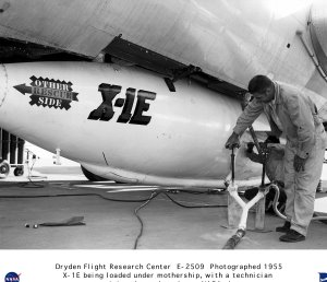 X-1E Being Loaded on B-29 Mothership