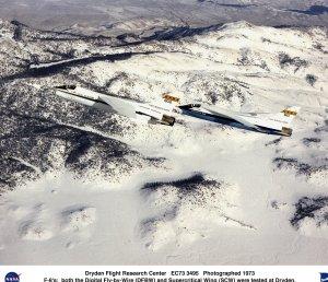 Dryden F-8 Research Aircraft Fleet 1973 in flight, DFBW and SCW
