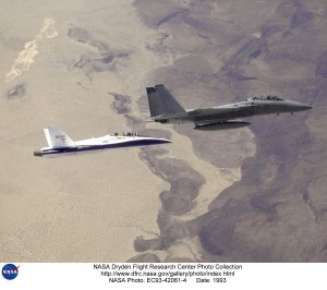F-15B and F-18 SRA in flight