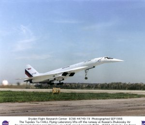Tu-144LL SST Flying Laboratory Lifts off Runway on a High-Speed Research Flight