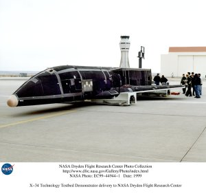 X-34 Technology Testbed Demonstrator delivery to NASA Dryden Flight Research Center