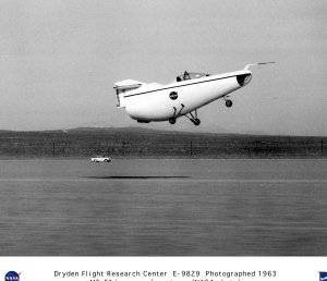 M2-F1 in flight during low-speed car tow