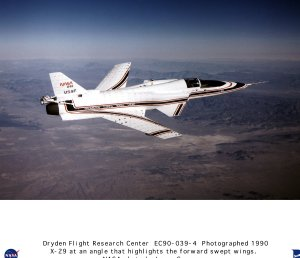 X-29 Ship #2 in Flight at an Angle that Highlights the Forward Swept Wings