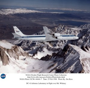 DC-8 Airborne Laboratory in flight over Mt. Whitney