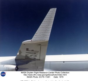 KC-135A in flight - closeup of winglet with attached tufts