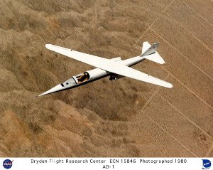 AD-1 in flight at 60 degree wing sweep