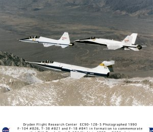 F-104 #826, T-38 #821, and F-18 #841 in formation flight to commemorate pilot Bill Dana 30 year anni
