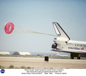 STS-49 Landing at Edwards with First Drag Chute Landing