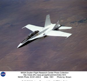 F-18 #845 Systems Research Aircraft (SRA) in flight