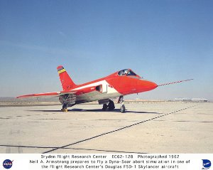 F5D-1 on ramp with Neil Armstrong preparing to fly a Dyna-Soar simulation