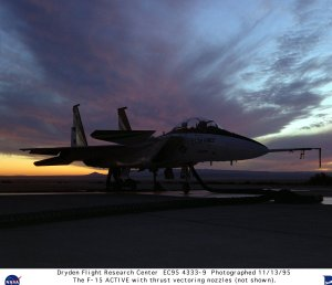 F-15B ACTIVE with thrust vectoring nozzles on test stand at sunrise