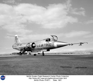 F-104 on lakebed, ground view