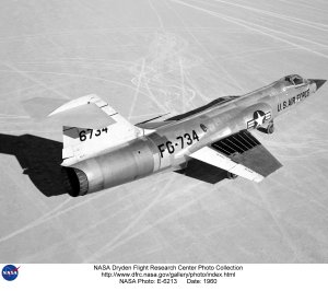 F-104 on lakebed, back view