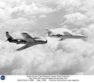 D-558-2 in flight with F-86 chase