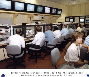NASA researchers in gold control room during an F-15 HiDEC flight