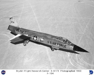 F-104A on lakebed, front view