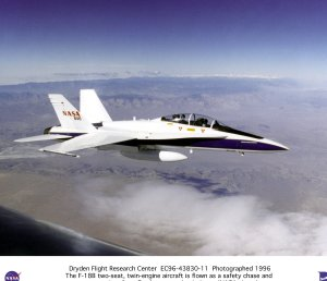 F-18B aircraft in flight, used as a safety chase and support aircraft on Dryden research missions