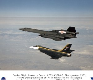 F-16XL ship #1 and SR-71 in formation flight studying the characteristics of sonic booms
