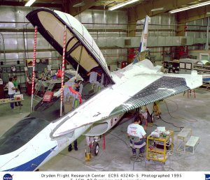 F-16XL Ship #2 Overview in hangar with turbo compressor