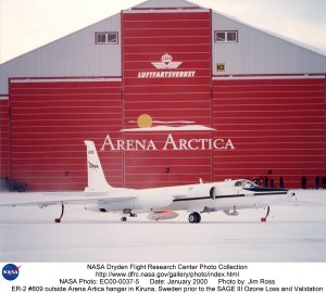 ER-2 #809 outside Arena Artica hangar in Kiruna, Sweden prior to the SAGE III Ozone Loss and Validat