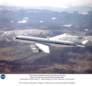 DC-8 Airborne Laboratory in flight over Mint Canyon near the San Gabriel Mountains